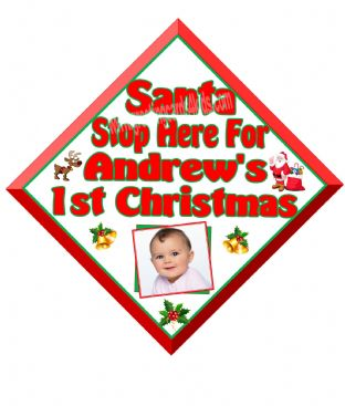 Personalised Baby's 1st Christmas Photo Santa Stop Here Window Sign